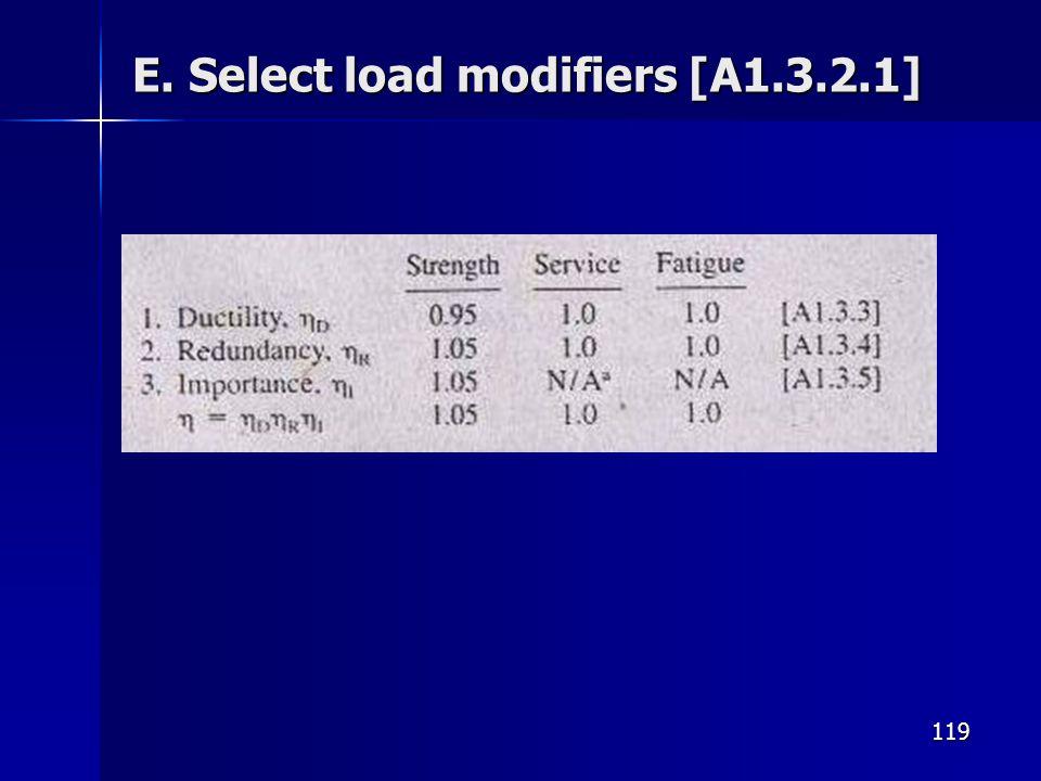 E. Select load modifiers [A1.3.2.1]